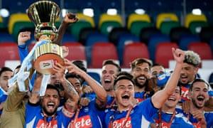 Napoli celebrate with the Coppa Italia.