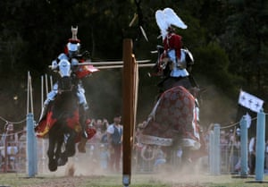 Australian Phillip Leitch jousts against Frenchman Michael Sadde on the way to winning the inaugural World Jousting Championship at the St Ives Medieval Faire.
