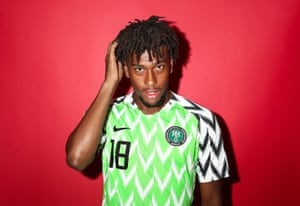 Alex Iwobi in the Nigerian shirt that has caused a sensation. Nike say 3 million of the shirts were pre-ordered. The feathered motif echoes the side's eagles nickname.