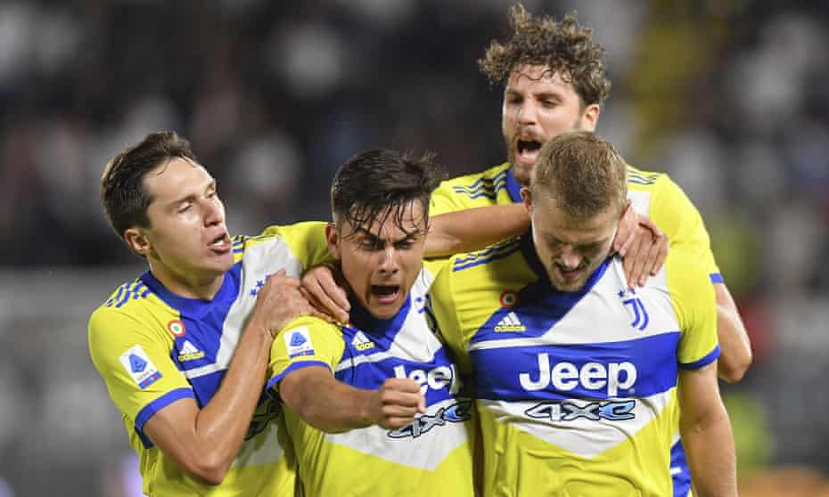Matthijs de Ligt (right) celebrates with teammates Federico Chiesa, Paulo Dybala and Manuel Locatelli after scoring Juventus' winner at Spezia.
