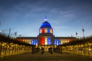 San Francisco City Hall lit up in red, white and blue