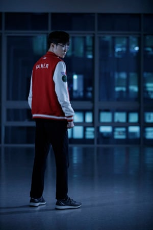 Faker, real name Lee Sang-hyeok, the highest-paid eSports League of Legends player in the world and member of the SK Telecom team poses for a picture in the tower block where the Seoul E-sports Stadium is situated.