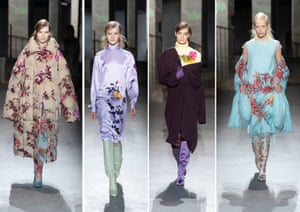 Dries Van NotenNever pre-empt a Dries Van Noten show. It opened with beautifully simple tailored coats, jackets and suiting in greys through to gleaming, pewter. Then came the touches of pastel. Prints were photographs of flowers from Van Noten's own garden, including 50 varieties of rose. The first flower appeared as a single rose below the collar of a grey shirt. Then a soft, layered top with shadowy flowers, worn with a pin-striped trouser, dresses in iridescent fabrics with flowers positioned to merge with the lining of a coat