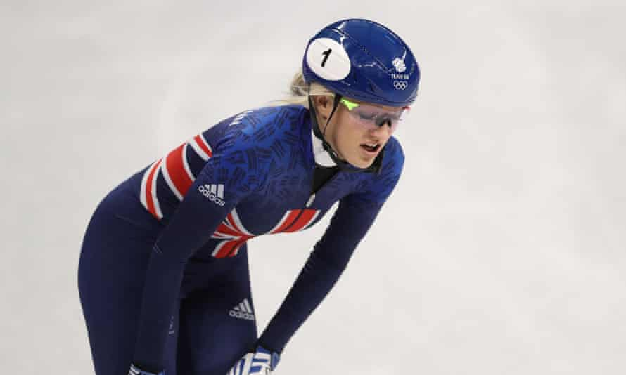 Elise Christie of Great Britain leaves the Ice Rink after competing in the heats of the Women's 1000m