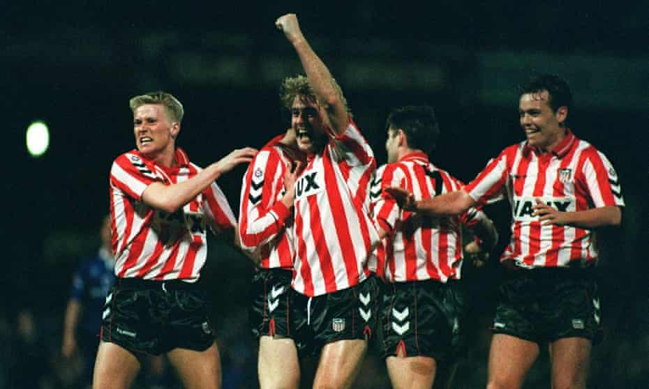 Sunderland's John Byrne (centre), with David Rush (left) and Gordon Armstrong (right) celebrate after Peter Davenport opened the scoring.