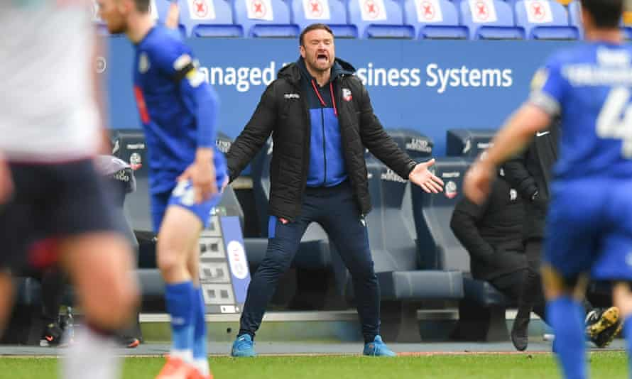 Bolton's manager Ian Evatt makes his feelings known during the home win over Harrogate earlier this month.