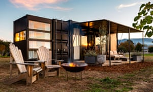 A shipping container room at the Wine Down pop-up hotel.