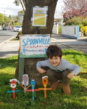 Percie, 5, with his Spoonville in Melbourne