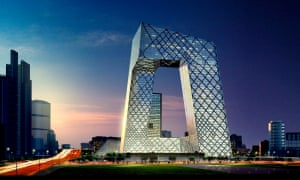 An artist's impression of the design for Rem Koolhaas's CCTV building in Beijing, China.