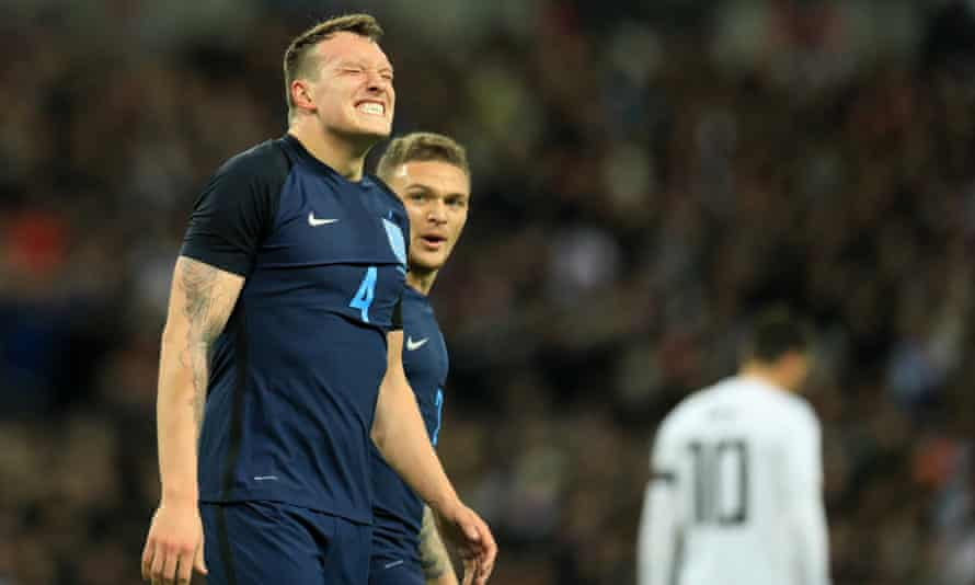 Phil Jones reacts as he suffers an injury in England's game against Germany last week.
