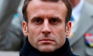 Emmanuel Macron at a military ceremony in Paris, 26 November.
