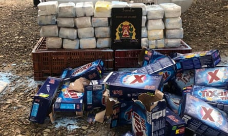 The cocaine and boxes of soap powder seized by police