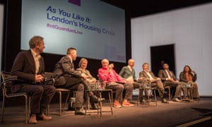 Panel of experts discussingLondon's housing crisis at the National Theatre.