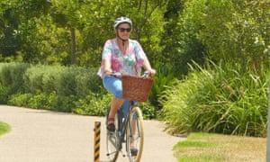 Susan Hinchey riding her bike