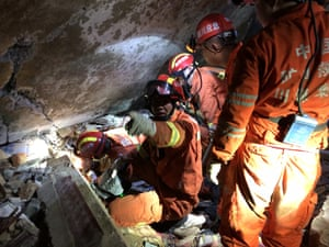 Sichuan, China Firefighters and rescue personnel work in Shuanghe town after an earthquake in Yibin