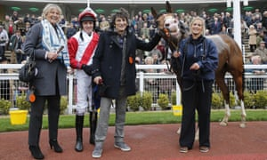 Jessica Harrington (left), Barry Geraghty and Ronnie Wood with Sandymount Duke after finishing third at Cheltenham in October 2015.