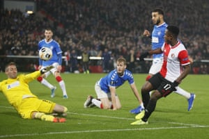 Feyenoord's Luis Sinisterra, right, passes Rangers' goalkeeper Allan McGregor to score his side's second goal.