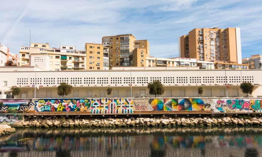 CAC museum at Gudalmedina river, soho district, CAC Malaga. Spain.