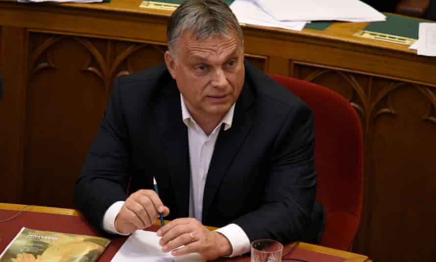 Hungarian prime minister Viktor Orbán in parliament for a vote on the 'Stop Soros' anti-immigration laws that he introduced.