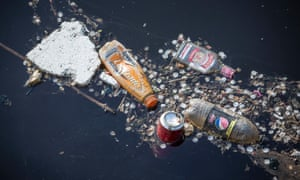 Plastic bottles and other rubbish floating in Leith Docks in Edinburgh.