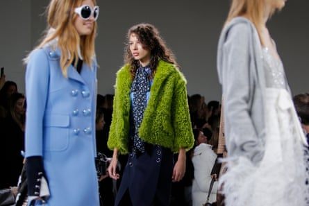 Models at New York fashion week, Michael Kors collection