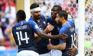 Paul Pogba celebrates after scoring the second for France.