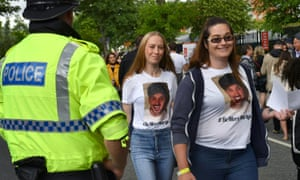Fans wearing T-shirts as a tribute to Martyn Hett at the One Love Manchester concert.