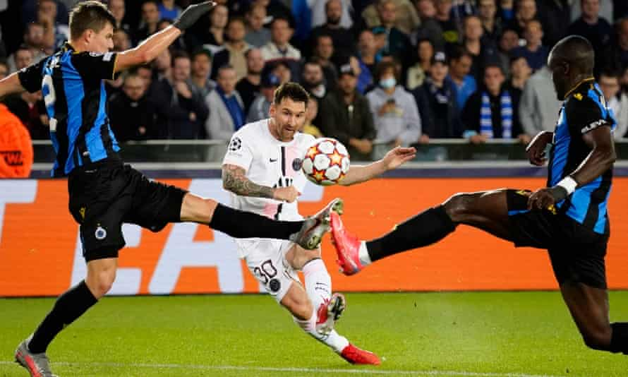 PSG's Lionel Messi bends a typically fearsome effort against the crossbar but his combinations with Neymar and Kylian Mbappé failed to overly trouble Club Brugge.