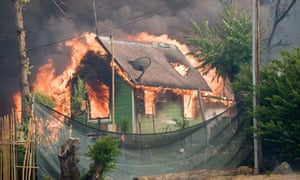 A house burns in the town of Shasta.