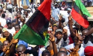 'Red was the blood of the siblings massacred in the north, black was for mourning them, green was for the prosperity Biafra would have, and, finally, the half of a yellow sun stood for the glorious future.'