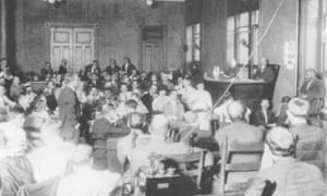 Prosecutor Hugh Dorsey questions Newt Lee on the first day of the trial of Leo Frank.