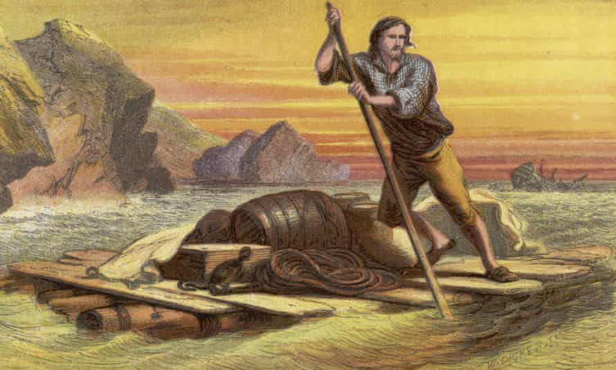 Crusoe on his raft, salvages as much as he can from the wrecked ship. 1719