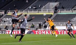 Wolverhampton Wanderers' Ruben Neves readies himself for a header.
