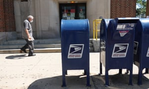 Mail boxes sit in front of a United State Postal Service facility in Chicago, Illinois.