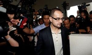 Riza Aziz, stepson of former Malaysia's Prime Minister Najib Razak, arrives at a court in Kuala Lumpur