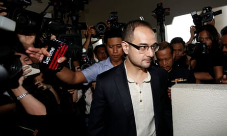 Riza Aziz, stepson of former Malaysia's Prime Minister Najib Razak, arrives at a court in Kuala Lumpur