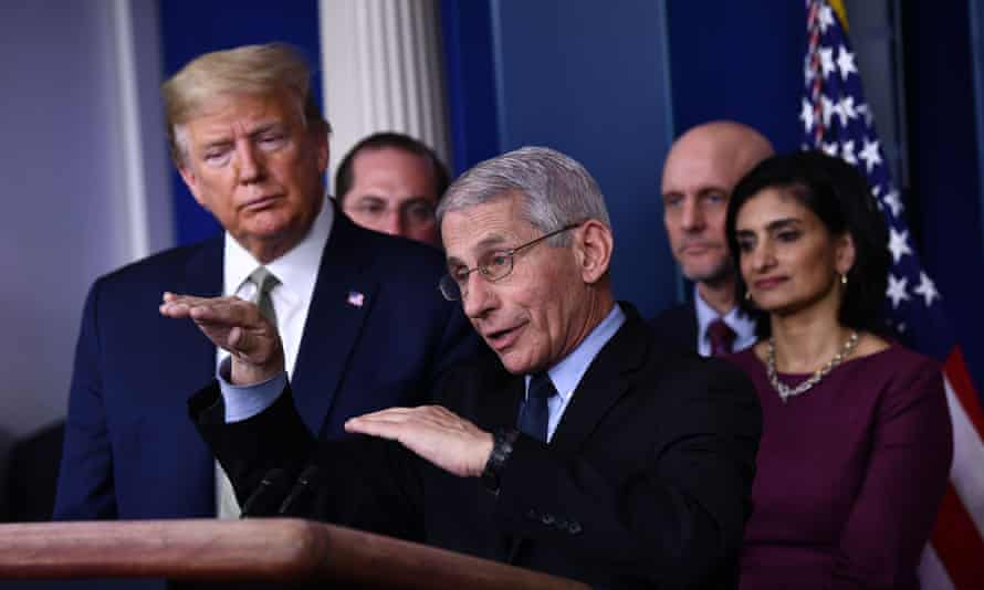 Dr Anthony Fauci speaks during the daily press briefing on the Coronavirus pandemic situation at the White House on March 17.