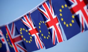 Bunting of European Union and the union flags