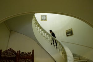 Former Iranian President Mohammad Khatami, walks up the stairs, in his office in 2009, Tehran, Iran,