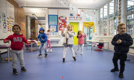 Children at Earlham primary in London keep distanced during a lesson.
