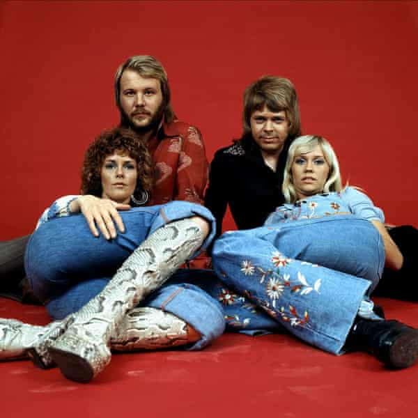 Abba on red background