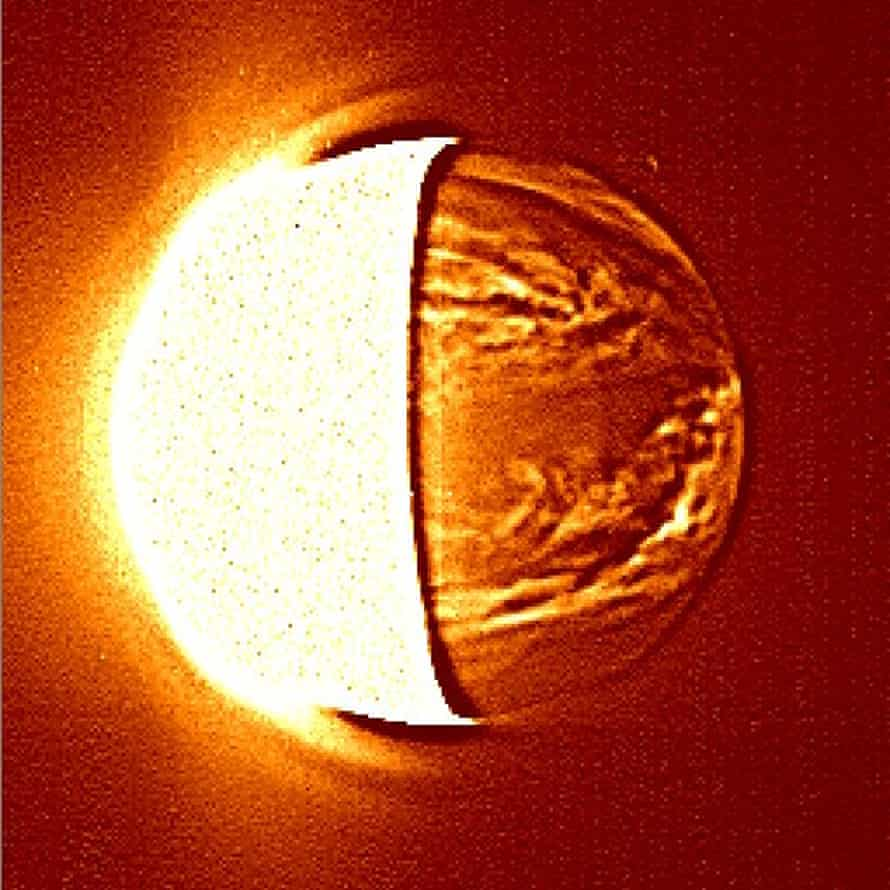 A image of the Venus' night-side produced by the Akatsuki mission.