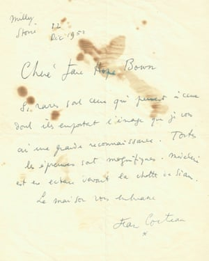 The letter from Jean Cocteau, dated 12 December 1950, which is held as part of the Jane Bown collection in the Guardian News & Media Archive. Letter reproduced courtesy of the Comité Jean Cocteau