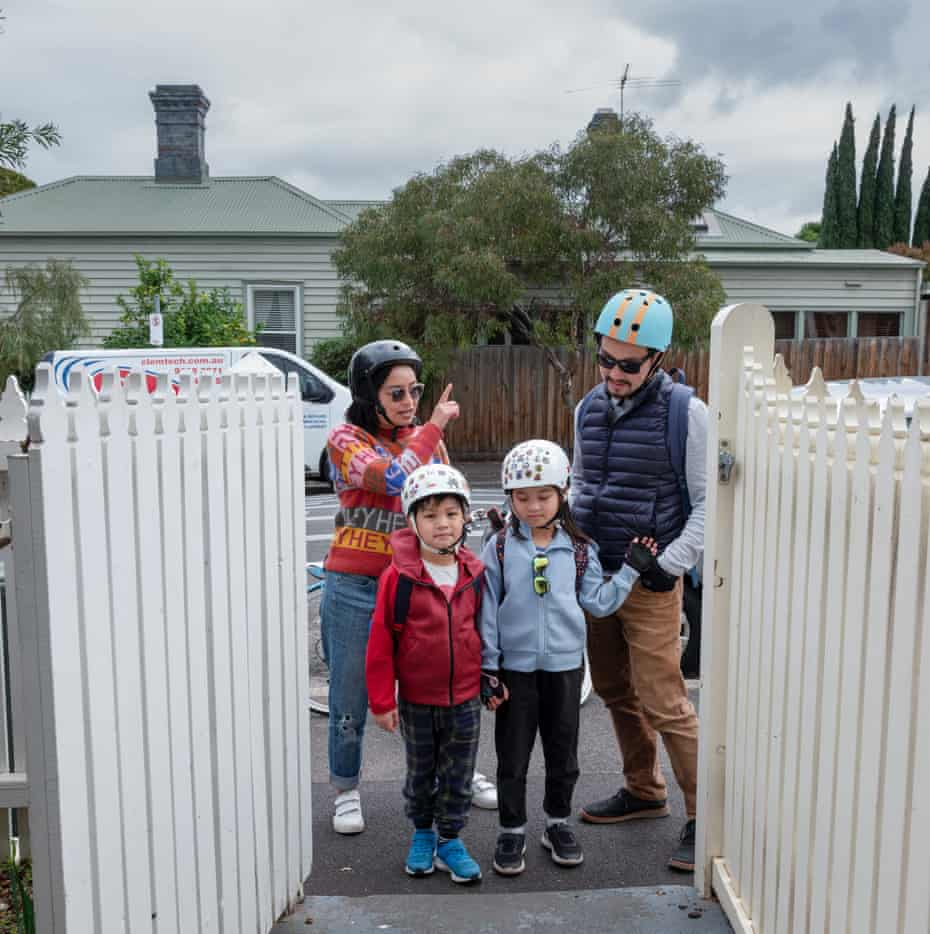Tee, Tung, Elodie and Miles enjoy an afternoon family bike trip.