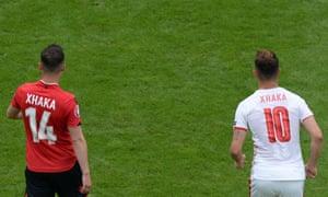 Granit Xhaka's Switzerland lead at half-time over elder brother Taulant's Albania.