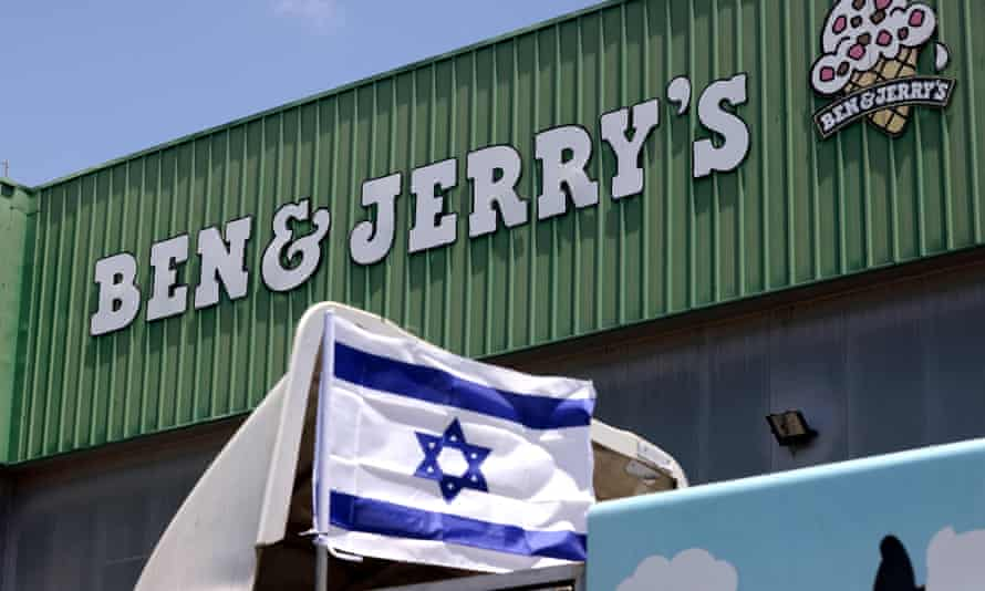 An Israeli flag on a delivery truck outside US ice-cream maker Ben & Jerry's factory in Be'er Tuvia, Israel, 21 July 2021.