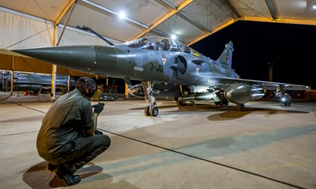 A French army Rafale fighter at an air base in the gulf, before taking off for Syria.