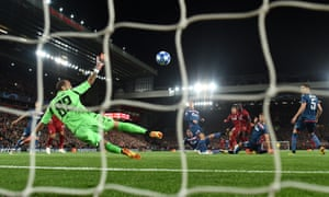 Roberto Firmino opens the scoring for Liverpool.