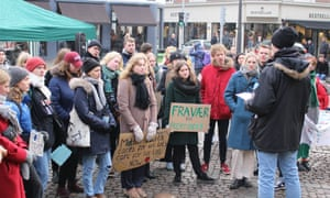 Students taking part in climate change protests in Denmark.