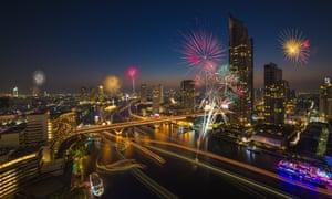 Fireworks above the Chao Phraya river Bangkok